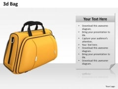 Stock Photo 3d Yellow Travel Bag PowerPoint Slide