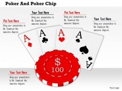Stock Photo Aces On 100 Dollar Poker Chip PowerPoint Slide