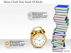 Stock Photo Alarm Clock Near Stack Of Books PowerPoint Slide