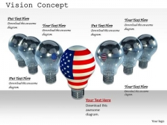 Stock Photo American Bulb As Leader Of Grey Bulbs PowerPoint Slide