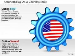 Stock Photo American Flag On A Gears Business PowerPoint Slide