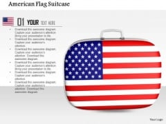 Stock Photo American Flag Suitcase PowerPoint Slide
