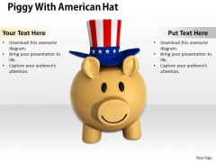 Stock Photo American Hat On Piggy Bank PowerPoint Slide