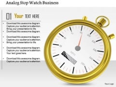 Stock Photo Analog Stop Watch Business PowerPoint Slide