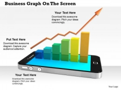 Stock Photo Arrow Growth Bar Graph On Phone Pwerpoint Slide