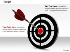 Stock Photo Arrow Hits On Bulls Eye Target Concept PowerPoint Slide