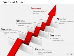 Stock Photo Arrow Making Path In Hurdles PowerPoint Slide