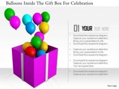 Stock Photo Balloons Inside The Gift Box Fo Celebration PowerPoint Slide