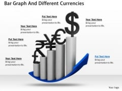 Stock Photo Bar Graph And Different Currencies PowerPoint Slide