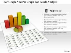 Stock Photo Bar Graph And Pie Graph For Result Analysis PowerPoint Slide