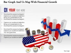 Stock Photo Bar Graph And Us Map With Financial Growth PowerPoint Slide