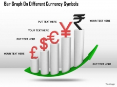Stock Photo Bar Graph On Different Currency Symbols PowerPoint Slide