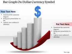 Stock Photo Bar Graph With Dollar Currency Symbol PowerPoint Slide