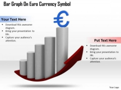 Stock Photo Bar Graph With Euro Currency Symbol PowerPoint Slide