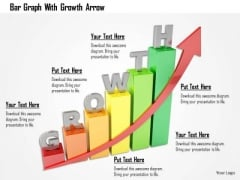 Stock Photo Bar Graph With Growth Arrow PowerPoint Slide