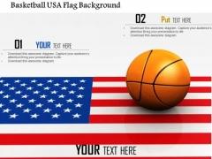 Stock Photo Basketball Usa Flag Background PowerPoint Slide
