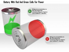 Stock Photo Battery With Red And Green Cells For Power PowerPoint Slide