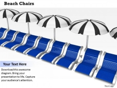 Stock Photo Beach Chairs With Umbrellas PowerPoint Slide