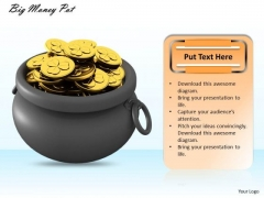 Stock Photo Big Money Pot With Gold Coins For Patrick Day PowerPoint Slide