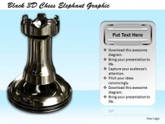 Stock Photo Black 3d Chess Elephant Graphic PowerPoint Template