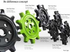 Stock Photo Black And Green Gears For Be Difference Concept PowerPoint Slide