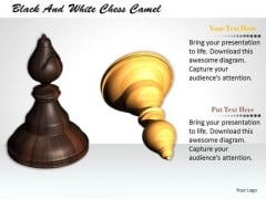 Stock Photo Black And White Chess Camel PowerPoint Template