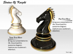 Stock Photo Black And White Knight Of Chess PowerPoint Slide
