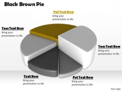 Stock Photo Black Brown Pie Chart For Business Result PowerPoint Slide