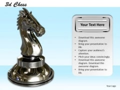 Stock Photo Black Glossy Chess Horse PowerPoint Slide