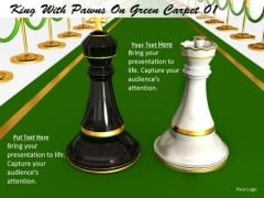 Stock Photo Black King With White Queen On Green Carpet PowerPoint Slide