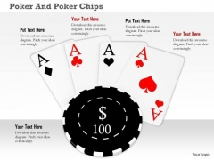 Stock Photo Black Poker Chip Over Aces PowerPoint Slide