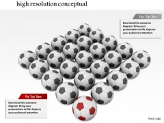 Stock Photo Black Soccer Balls With One Red Ball Conceptual PowerPoint Slide