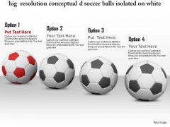 Stock Photo Black Soccer Balls With One Red Ball PowerPoint Slide