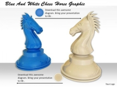 Stock Photo Blue And White Chess Horse Graphic PowerPoint Template