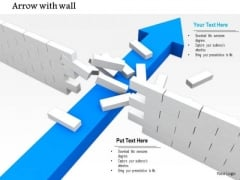Stock Photo Blue Arrow Breaking Wall For Problem Solution Concept PowerPoint Slide