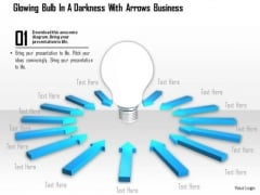 Stock Photo Blue Arrows Around Light Bulb PowerPoint Slide