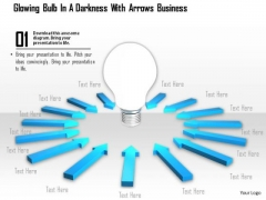 Stock Photo Blue Arrows Around Light Bulb PowerPoint Slide