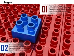 Stock Photo Blue Block On Red Lego Blocks PowerPoint Slide