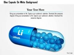 Stock Photo Blue Capsule On White Background PowerPoint Slide