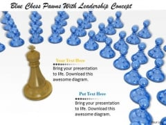 Stock Photo Blue Chess Pawns With Leadership Concept PowerPoint Template