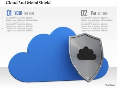 Stock Photo Blue Cloud With Metal Shield Pwerpoint Slide