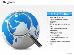 Stock Photo Blue Color Globe With Magnifying Glass PowerPoint Slide
