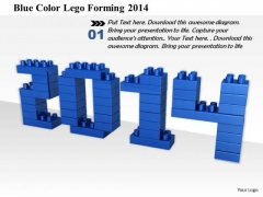Stock Photo Blue Color Lego Forming 2014 PowerPoint Slide