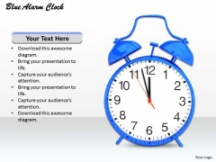 Stock Photo Blue Colored Alarm Clock For Time Management PowerPoint Slide