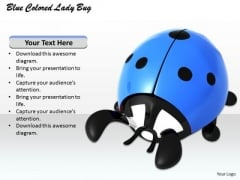 Stock Photo Blue Colored Lady Bug PowerPoint Template