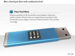 Stock Photo Blue Colored Pen Drive With Combination Lock PowerPoint Slide