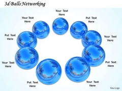 Stock Photo Blue Crystal Balls In Circle Teamwork PowerPoint Slide