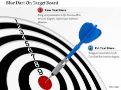 Stock Photo Blue Dart On Target Board PowerPoint Slide
