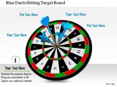 Stock Photo Blue Darts Hitting Target Board PowerPoint Slide