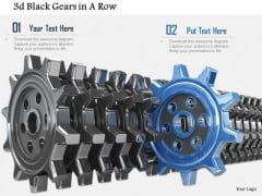 Stock Photo Blue Gear Coming Out From Line Of Black Gears PowerPoint Slide